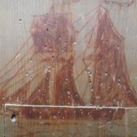 Westray schooner Galatea drawing on graffiti wall