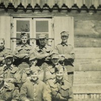 Group of POWs at Stalag XXA (Thorn) with Pte. David G Reid 2823046 marked with an X